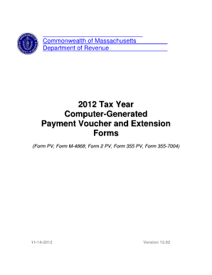 2012 tax payment voucher for common of mass fill online for Motor vehicle excise tax ma
