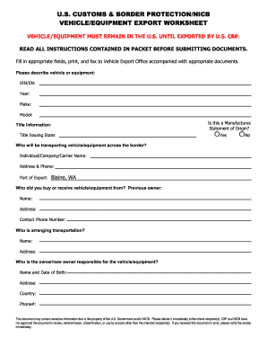 Related Content - us customs vehicle export worksheet