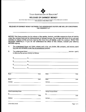 Fillable Online Release of Earnest Money Form - Texas Central ...