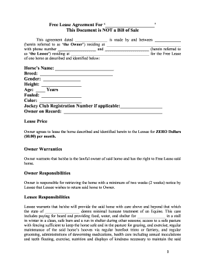 Horse Lease Agreement Form Free - Fill Online, Printable, Fillable ...