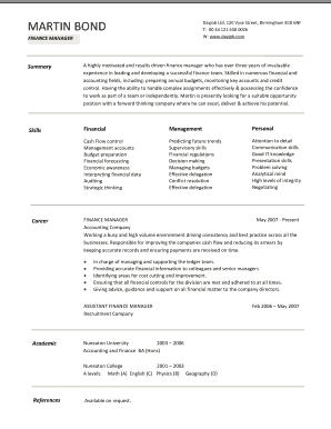 Finance manager cv template free guidance on how to write a finance preview of sample infodayjob maxwellsz