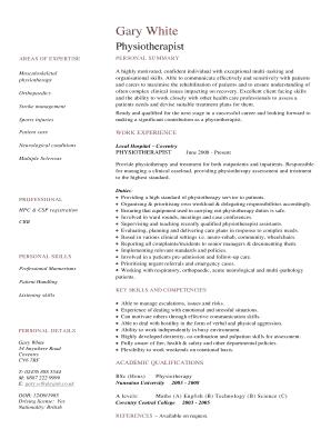 physiotherapist resume