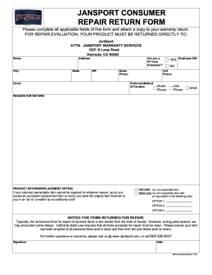 Jansport Warranty Form - Fill Online, Printable, Fillable, Blank ...