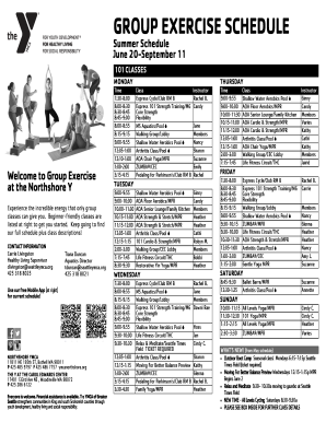 GROUP EXERCISE SCHEDULE Summer Schedule June 20September 11 101 CLASSES MONDAY Welcome to Group Exercise at the Northshore Y Experience the incredible energy that only group classes can give you - seattleymca