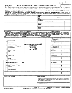 Printable acord 131 201312 Forms and Document Templates to ...