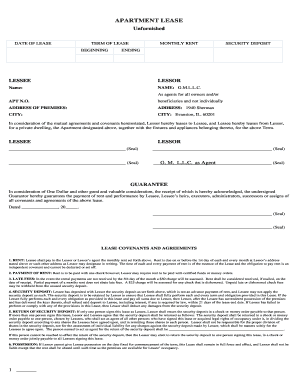 Unfurnished Chicago Apartment Lease Form - Fill Online, Printable ...