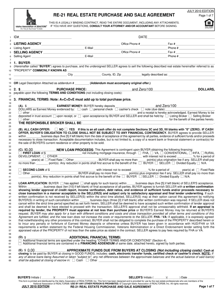 Idaho Purchase Agreement - Fill Online, Printable, Fillable