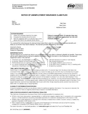 edd unemployment application form pdf