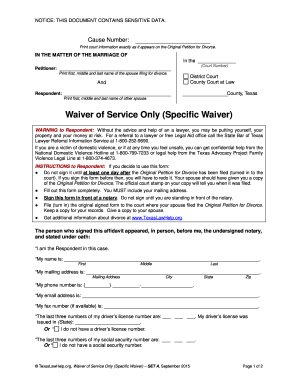 Waiver Service Texas Form - Fill Online, Printable, Fillable ...