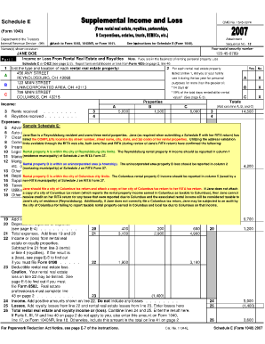 Sample Of 1040 Schedule E Filled Out - Fill Online, Printable ...