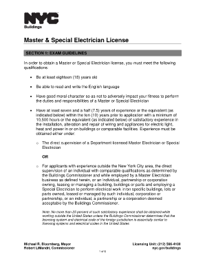 Fillable Online Nyc Master Amp Special Electrician License