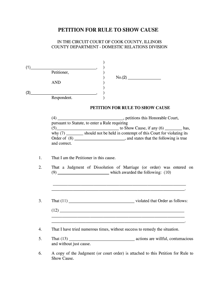 Illinois Petition To Show Cause Fill Online Printable Fillable Blank Pdffiller