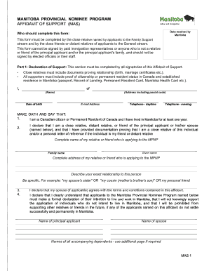 manitoba affidavit of support form mas - Affidavit Of Support Form