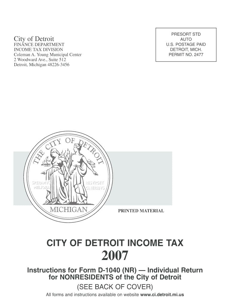 2007 Form MI D-1040(NR) - Detroit Fill Online, Printable
