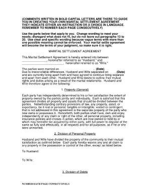 monterey army marital settlement agreement forms