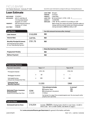 home loan estimate format fill online printable fillable blank
