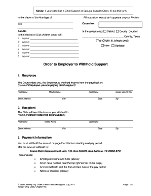 Printable texas divorce forms fill out download online blanks in texas divorce forms with children order to employer to withhold support free texas divorce forms solutioingenieria Image collections