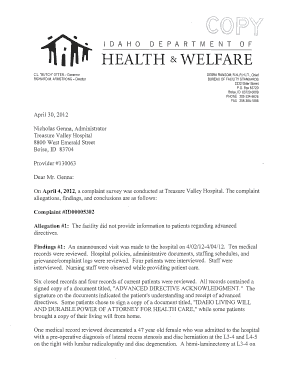 On April 4, 2012, a complaint survey was conducted at Treasure Valley Hospital - healthandwelfare idaho