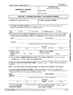 Fillable Adult Disability Report - Fill Online, Printable