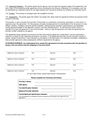 2012 Fl Non Institutional Medicaid Provider Agreement Form Fill