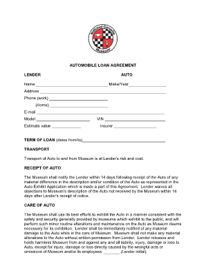loan agreement for a car form