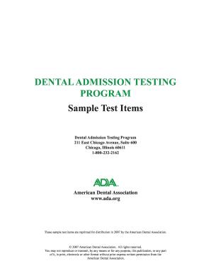 American Dental Association 2009 Dat Test - Fill Online, Printable,  Fillable, Blank | PDFfiller