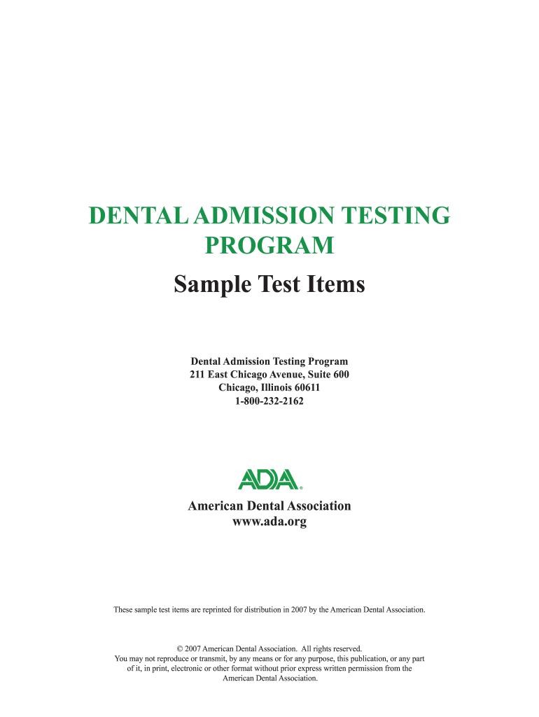 American Dental Association 2009 Dat Test - Fill Online