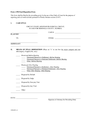 Fillable Online Form 1.998 Final Disposition Form - Seminole ...