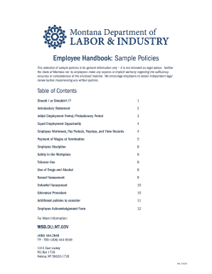 sample signature page for employee handbook edit print fill out