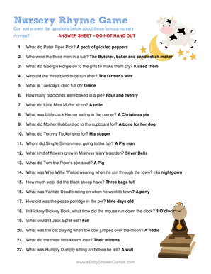 Nursery Rhyme Game answers. answer sheet for nursery rhyme game