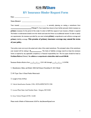 Home Insurance Binder Request Form | Taraba Home Review