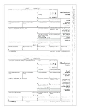 1099 misc form 2012 templates fillable printable samples for pdf word pdffiller. Black Bedroom Furniture Sets. Home Design Ideas