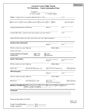 Gcps W 9 Substitute Vendor Information Form - Fill Online ...