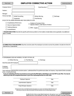 Employee Corrective Action Printable Form Fill Online