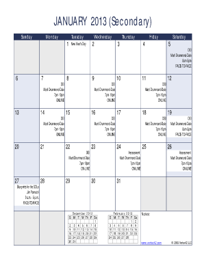 2013 2017 monthly calendar form