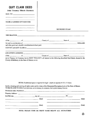 quick claim deed form for illinois  Quit Claim Deed Illinois - Fill Online, Printable, Fillable ...