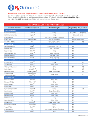 Rx Outreach Medication List Fill Online Printable