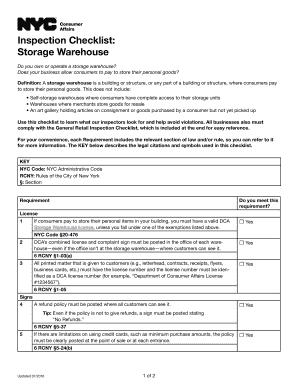 Editable warehouse assessment checklist - Fillable