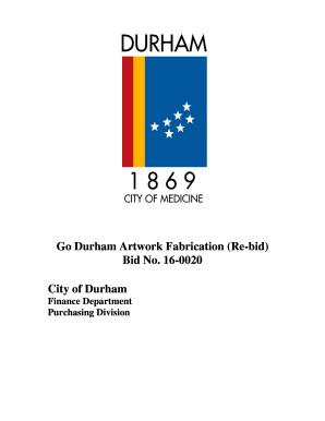 Fillable Online Durhamnc Artwork Fabrication Jkh Re Bid Durham