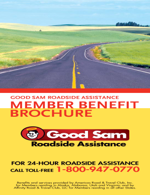 Fillable Online Good Sam Roadside Assistance Member Benefit