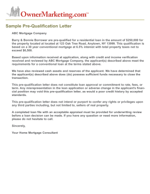 Fillable line Sample Pre Qualification Letter Pre qualifying