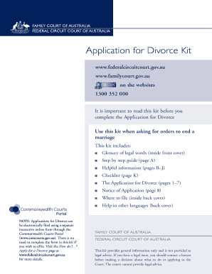 Printable where to get a divorce kit fill out download forms application for divorce kit federal circuit court of australia solutioingenieria Images