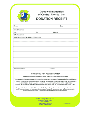 Donation Receipt Template Forms - Fillable & Printable Samples for ...