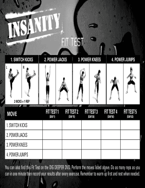 Insanity Fit Test - Fill Online, Printable, Fillable, Blank | PDFfiller