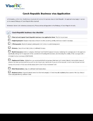 Fillable Online Czech Republic Business Visa Application Form Czech Republic Visa Fax Email Print Pdffiller