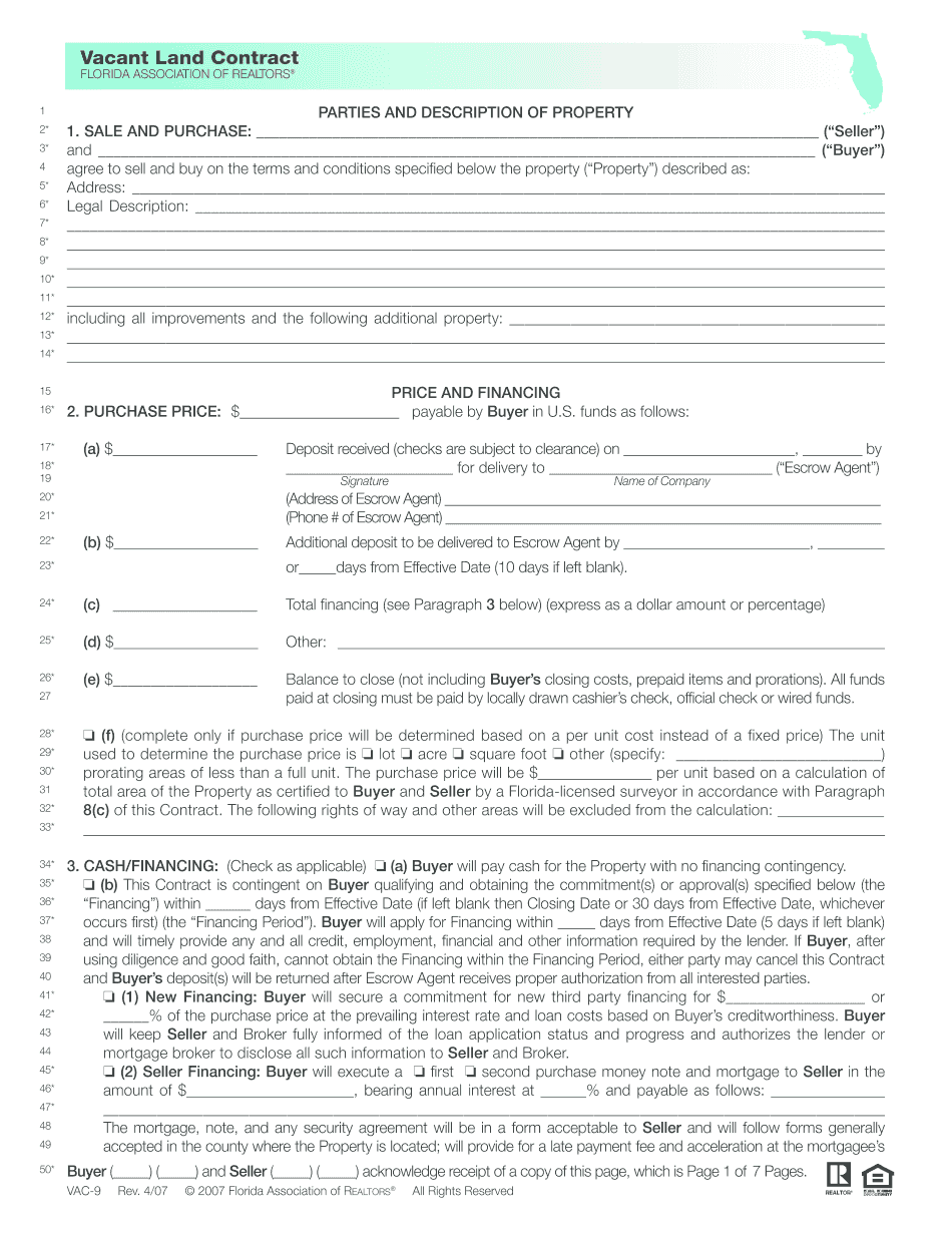 simple vacant land purchase agreement