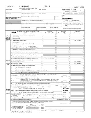 L 1040 Lansing 2012 - Fill Online, Printable, Fillable, Blank ...