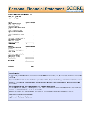 generic personal financial statement form