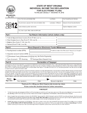 Wv State Fillable Income Tax Forms 2012 - Fill Online, Printable ...