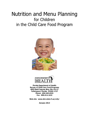 Nutrition and Menu Planning Workbook - Florida Department of Health - doh state fl